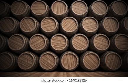 Wooden barrels stacked full background, 3d rendering