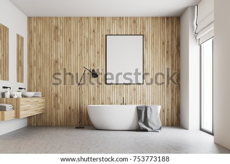 Wooden bathroom interior with a concrete floor, a large window, a double sink and