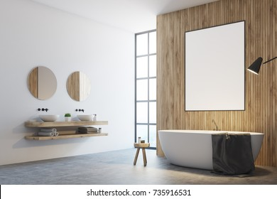 Wooden bathroom interior with white and wooden walls, a loft window and a white tub with a poster hanging above it. A double sink with round mirrors. Side view. 3d rendering mock up