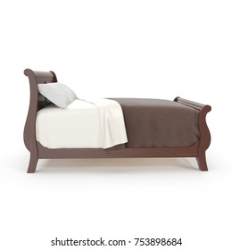 wooden bed isolated on white background. 3D illustration
