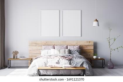 Wooden bed in modern interior space, 3D render, 3D illustration
