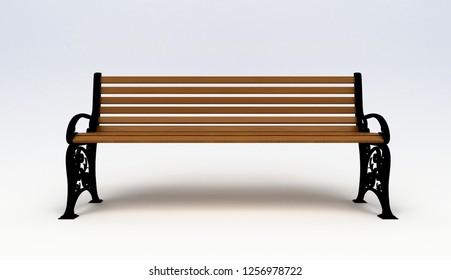 Wooden bench on white background, 3d illustration