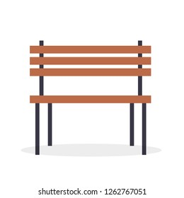 Wooden bench raster illustration isolated on white background. Seat for recreation in park, traditional sitting place made of planks