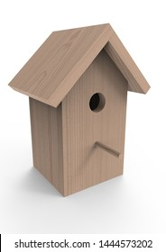 Wooden birdhouse 3d render. Bird box isolated on a white background.