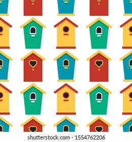 wooden birdhouses on white background, cute seamless pattern. texture, garden background. raster copy illustration.