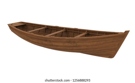 Wooden Boat Isolated. 3D rendering