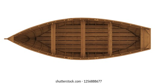 Wooden Boat Isolated (top view). 3D rendering