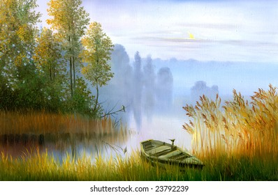 Wooden boat on the bank of lake on a decline