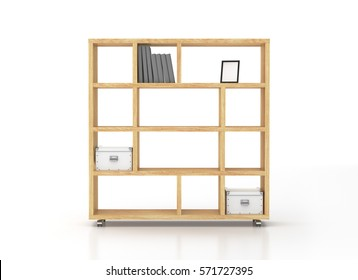 Wooden bookcase shelves on wheels isolated on white background. Include clipping path. 3d render