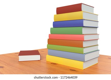Wooden Bookshelf Or Table With Stack Of Color Books Isolated On White 3D Illustration