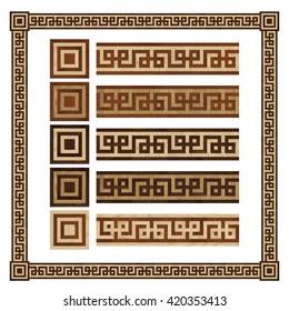 Wooden border ornament meandr, design  parquet floor, seamless texture for 3D interior