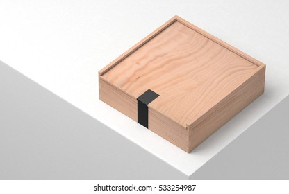 Wooden box caskets with black sticker, plywood. 3d rendering