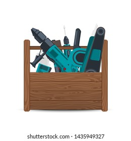 wooden box with electric construction tools isolated on white background. Illustration of toolbox for work, equipment hardware instrument