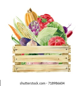 Wooden box full of fresh organic vegetables watercolor clipart isolated on white background