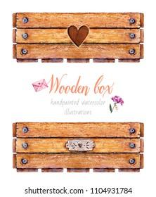 Wooden box. Watercolor illustration