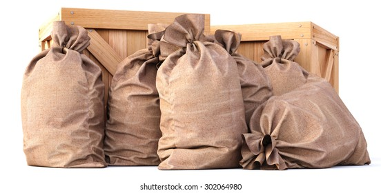 wooden boxes with bags. isolated on white background.