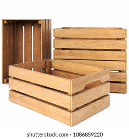 wooden boxes isolated on white background. 3D illustration.