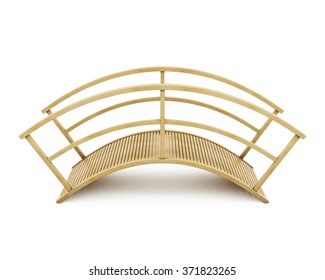 Wooden bridge isolated on a white background. 3d rendering.