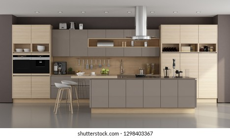 Wooden and brown modern kitchen with island - 3d rendering