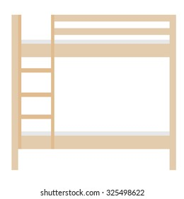 Wooden bunk bed raster illustration. Bedroom furniture. Empty bed. Children bunk bed with stairs