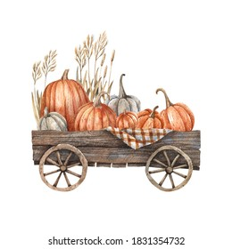 Wooden cart with pumpkins and autumn herbs painted in watercolor. Autumn illustration, harvest, farming, October.