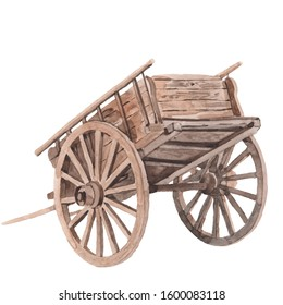 Wooden cart. Watercolor illustration paint isolated background