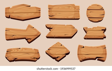 Wooden cartoon boards. Rustic label wooden ribbons template blank signboard picture