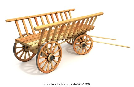 Wooden carts. 3d illustration. Isolated on white