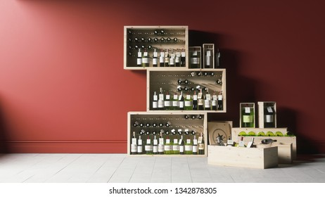 Wooden cases with wine bottles. Wine bottles in wooden boxes. 3d illustration of Wine bottle in wooden box on red background.