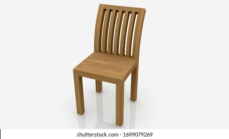 Wooden chair on white background.3d illustration
