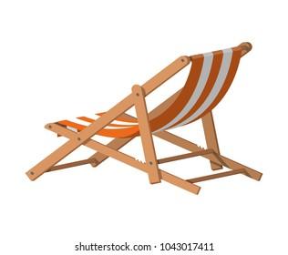 Wooden chaise lounge. Sun lounger, deckchair, sunbed, beach chair. illustration in flat style