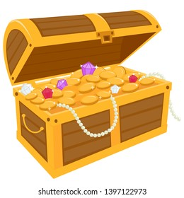 A wooden chest filled with gold treasure