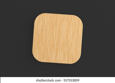 Wooden coaster. Isolated on black background. Include clipping path. 3d render