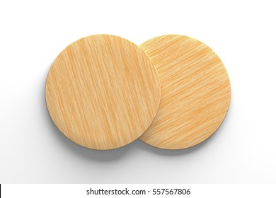 Wooden coasters. Isolated on white background. Include clipping path. 3d render