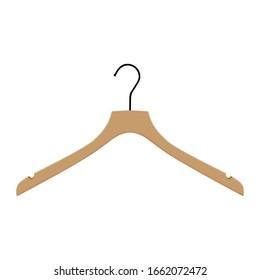 Wooden coat hanger, clothes hanger on a white background