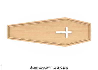 Wooden Coffin With Golden Cross and Handles on a white background. 3d Rendering