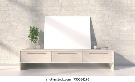 Wooden console with a frame and plant. Brick wall with shadows. 3D rendering