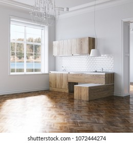 Wooden contemporary kitchen furniture in classic interior 3d render