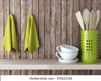 Wooden cooking utensils and cups on shelf. Vintage kitchen design.