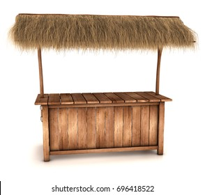 A wooden counter kiosk with thatched roof. 3d image isolated on white.