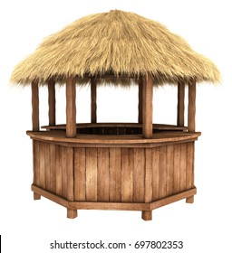 Wooden counter kiosk with thatched roof. 3d image isolated on white.