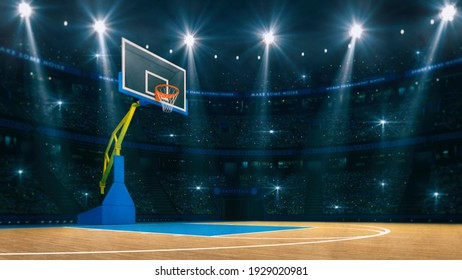 Wooden court with basketball hoop on left side. Stadium interior as sport background. Digital 3D illustration, design of my own.