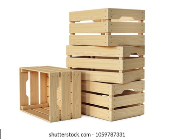 Wooden crates stack isolated on white background 3d rendering