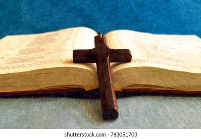 Wooden cross on an open Bible, that lay on the table. Like a painting picture.