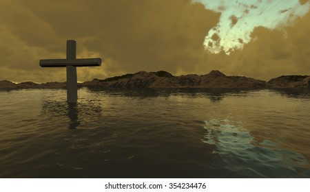 Wooden cross in water made in 3d software