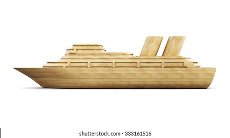 Wooden cruise liner side view isolated on white background. 3d illustration.