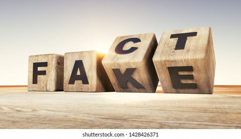 Wooden dice form the words fact and fake - 3D illustration