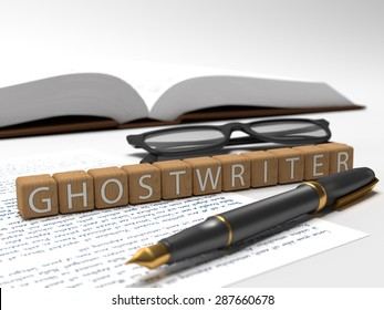Wooden dices containing the word ghostwriter, a book, glasses and a fauntain pen. 3D Illustration