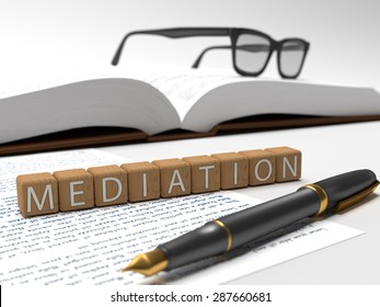 Wooden dices containing the word mediation, a book, glasses and a fountain pen. 3D Illustration