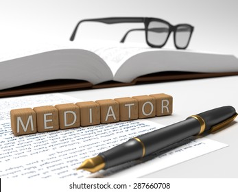 Wooden dices containing the word mediator, a book, glasses and a fountain pen. 3D Illustration